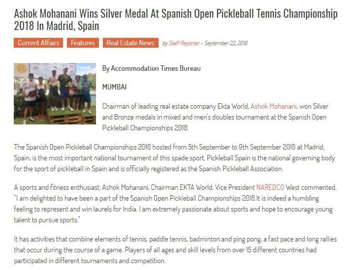 28d9eb8571 Ashok Mohanani wins silver medal at Spanish Open Pickleball Tennis  Championship 2018 in Madrid