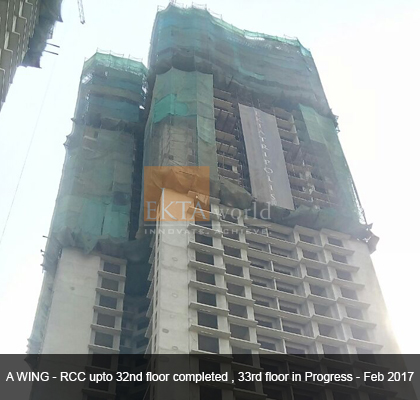 Ekta Tripolis 'A' Wing - RCC upto 32nd floor completed, 33rd floor in process - Feb 2017