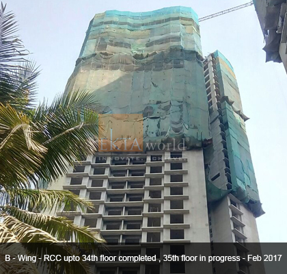 Ekta Tripolis 'B' wing - RCC upto 34th floor completed, 35th floor in process - Feb 2017